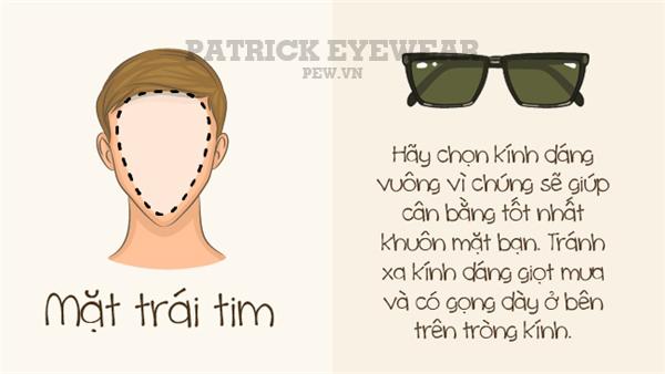 chọn kính nam phù hợp khuôn mặt trái tim