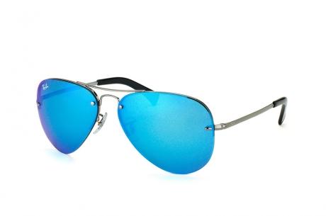 Kính mát Ray-Ban RB3449-004/55 tráng gương xanh dương